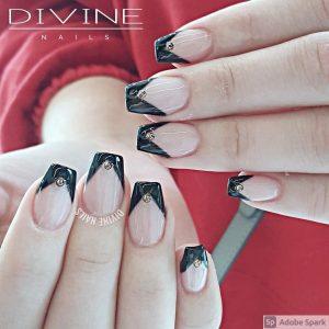 Divine Nails Red Deer - Black Tip Nails